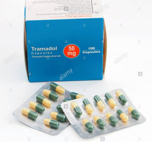 box of tramadol capsules pain relief medication with the blister pack FKXD25